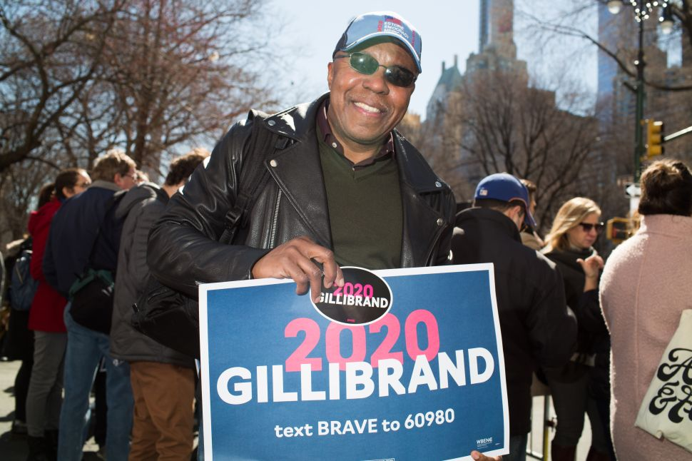 Kamau Cush at the kickoff for Kirsten Gillibrand's presidential candidacy in New York on March 24, 2019.