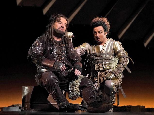 Tomasz Konieczny (Alberich) and Norbert Ernst (Loge) compare their pleather garb in the Met's 'Das Rheingold'.
