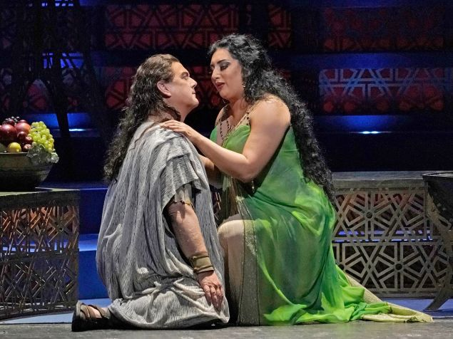 Dalila (Anita Rachvelishvili, right) turns on the charm for Samson (Gregory Kunde).