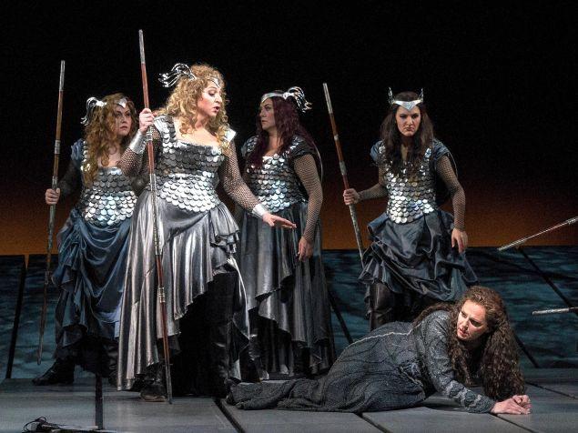 Brünnhilde (Christine Goerke) rescues the grieving Sieglinde (Eva-Maria Westbroek)