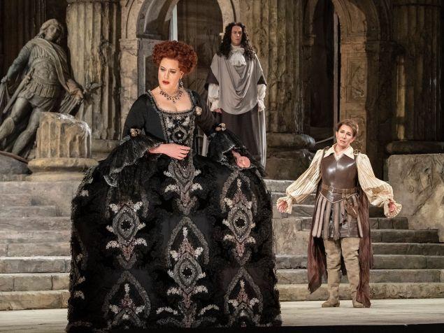 Elza van den Heever as Vitellia, Joyce DiDonato as Sesto, and Christian Van Horn (background) as Publio in 'La Clemenza di Tito'.