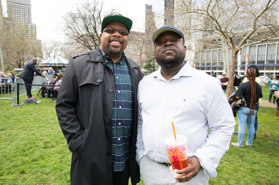 "Nathaniel Crawford (L) at the Cory Booker ""Justice For All"" Kickoff Tour in Newark, N.J. on April 13, 2019."