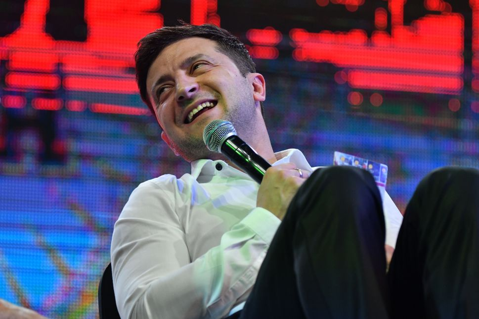 "Ukrainian comic actor, showman and presidential candidate Volodymyr Zelensky speaks as he performs with his ""95th Block"" comedy group in the small town of Brovary, near Kiev, on March 29, 2019."