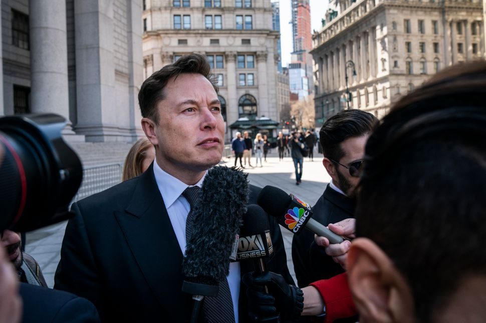 Elon Musk arrives at federal court in New York City on April 4.