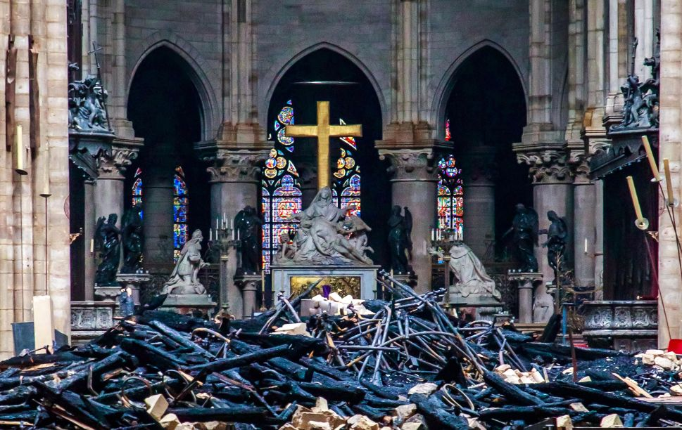This general view shows debris inside the Notre Dame Cathedral in Paris on April 16, 2019, a day after a fire that devastated the building in the centre of the French capital.