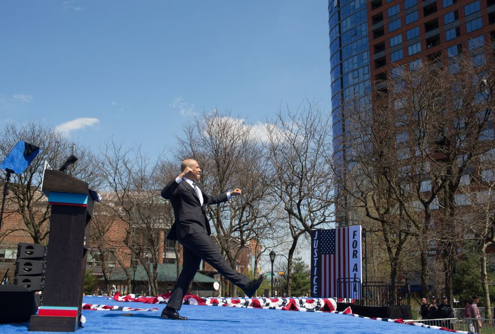 NEWARK, NEW JERSEY - APRIL 13: Senator Cory Booker launches in 2020 Presidential campaign with a speech and a rally on April 13 in downtown Newark, New Jersey.