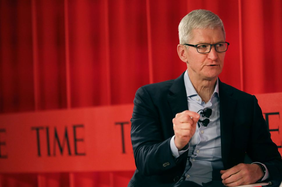 Apple CEO Tim Cook speaking at the TIME 100 Summit in New York City.