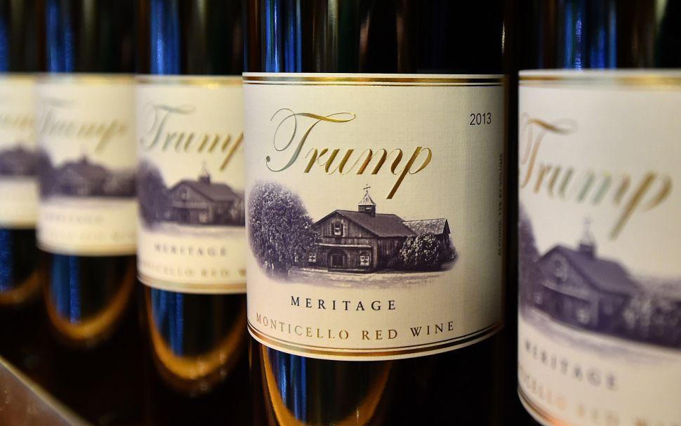 Trump brand wine is seen inside the Trump International Hotel.