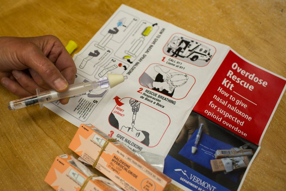 View of an 'Overdose Rescue Kit,' which includes naloxone, a syringe for nasal atomization and instructions.