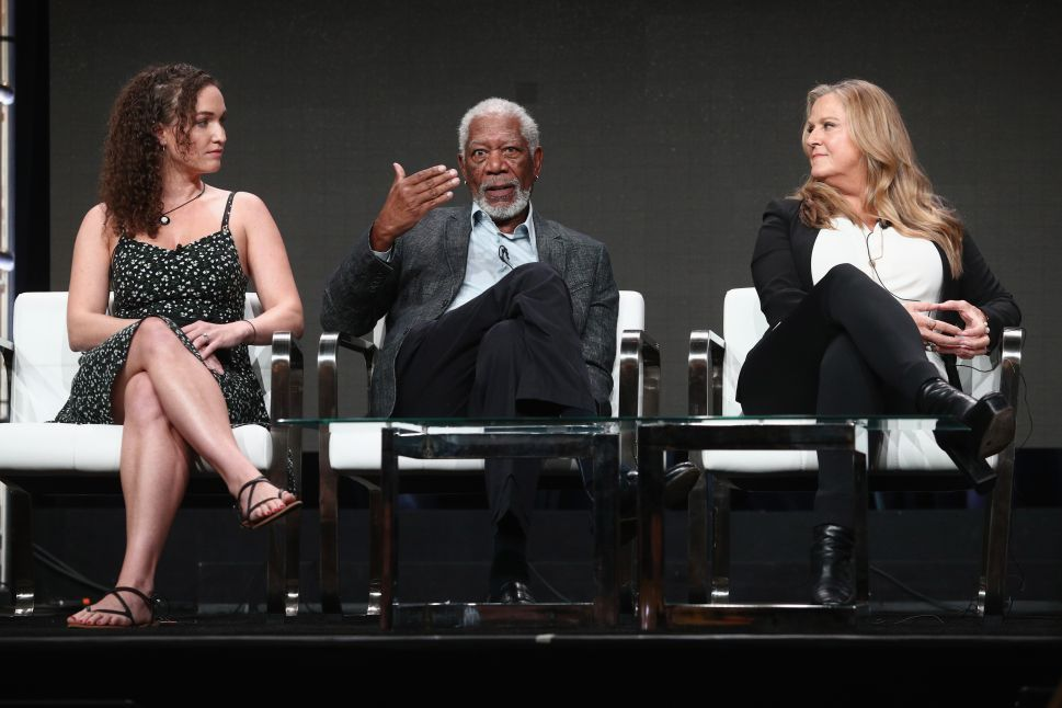 (L-R) Former Westboro Baptist Church Member Megan Phelps-Roper, host/executive producer Morgan Freeman and executive producer Lori McCreary of 'The Story of Us with Morgan Freeman' speak onstage during the National Geographic Channels portion of the 2017 Summer Television Critics Association Press Tour at on July 25, 2017.