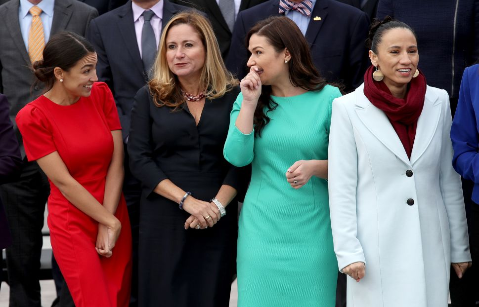 Reps. Alexandria Ocasio-Cortez (D-N.Y.), Debbie Mucarsel-Powell (D-Fla.) Abby Finkenauer (D-Iowa), and Sharice Davids (D-Kan.)