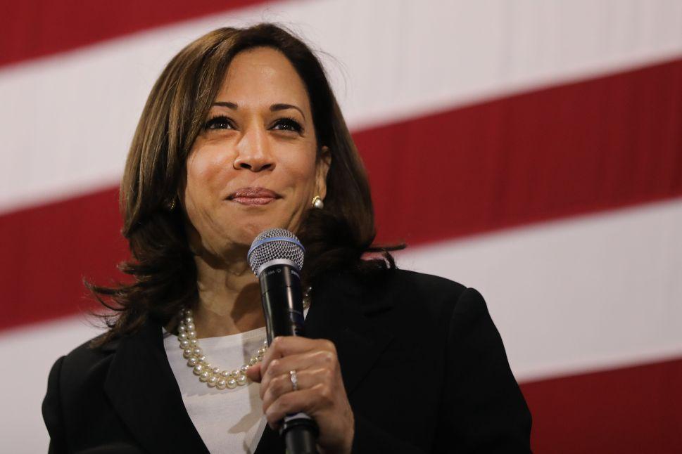 Sen. Kamala Harris (D-Calif.) speaks at a campaign stop.