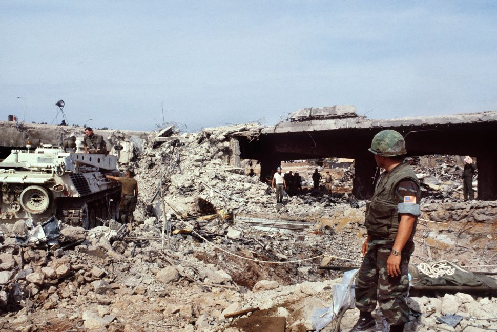 U.S. Marines search for victims after the terrorist attack that killed 241 American soldiers on October 23, 1983 in Beirut.