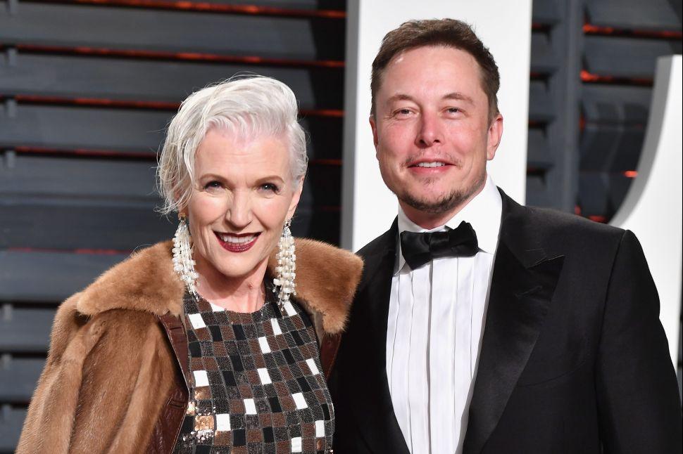Maye Musk (L) and Elon Musk