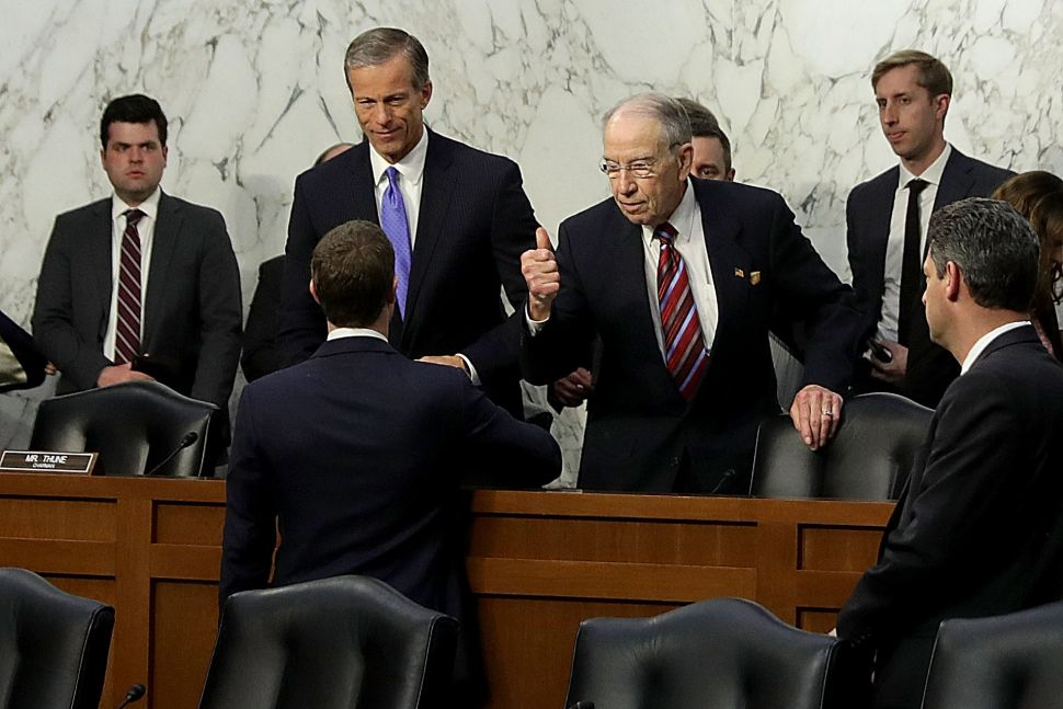Mark Zuckerberg was hailed as a hero of the American dream at his congressional hearing over Facebook's unethical practices in April 2018.