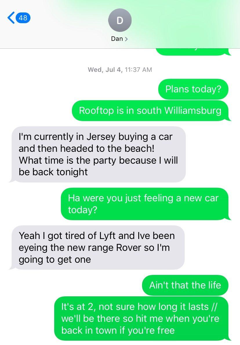 Daniel Spence Range Rover Text
