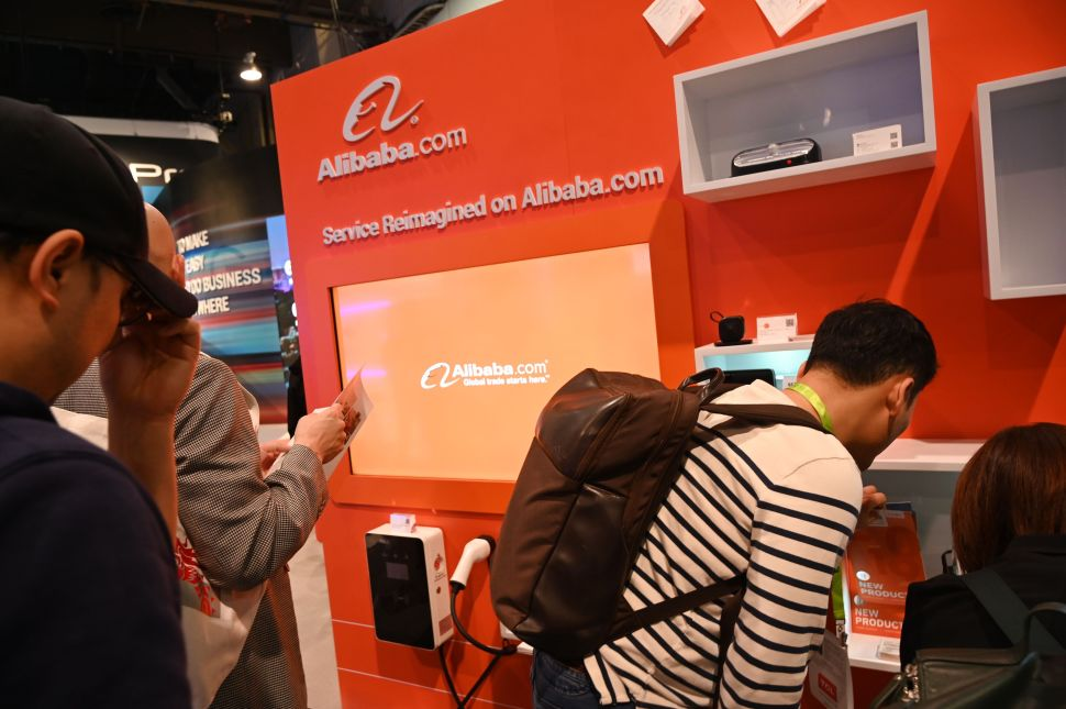 Attendees visit Alibaba's booth at CES 2019 on January 10, 2019.