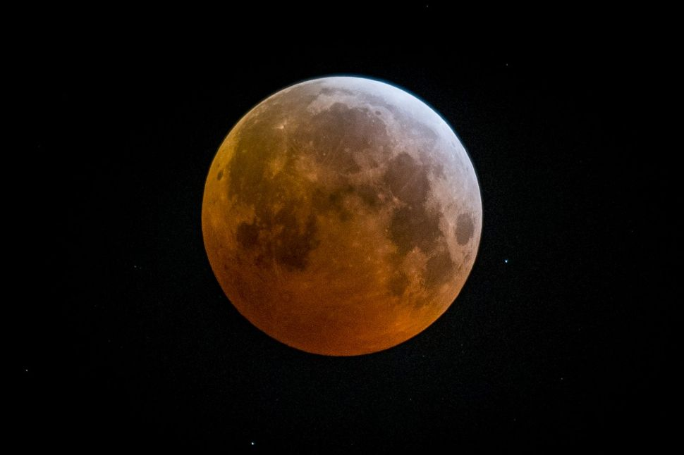 The moon during a total lunar eclipse in July 2018.