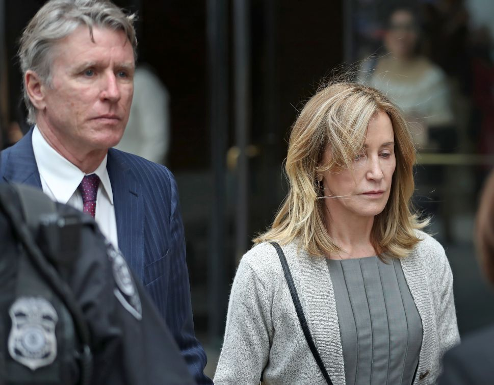 Felicity Huffman leaving court in Boston in May.