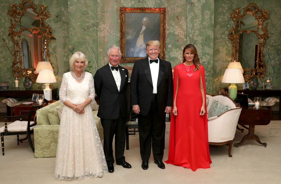 U.S. President Donald Trump and First Lady Melania Trump host a dinner at Winfield House for Prince Charles, Prince of Wales and Camilla, Duchess of Cornwall, during their state visit on June 04, 2019 in London, England.