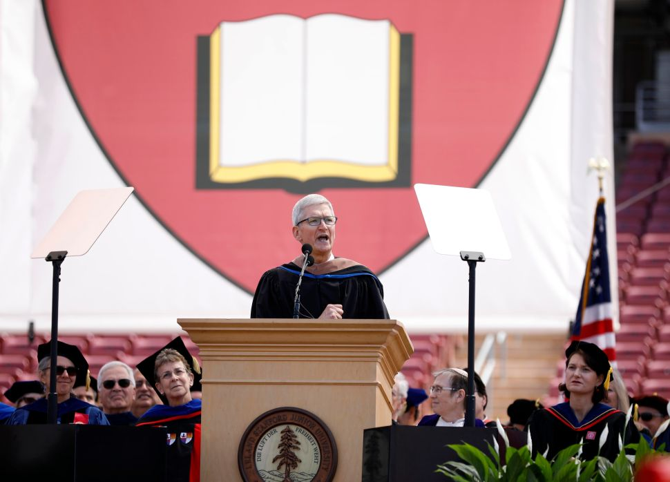Apple CEO Tim Cook speaks during the 128th Stanford University commencement ceremony on June 16, 2019.