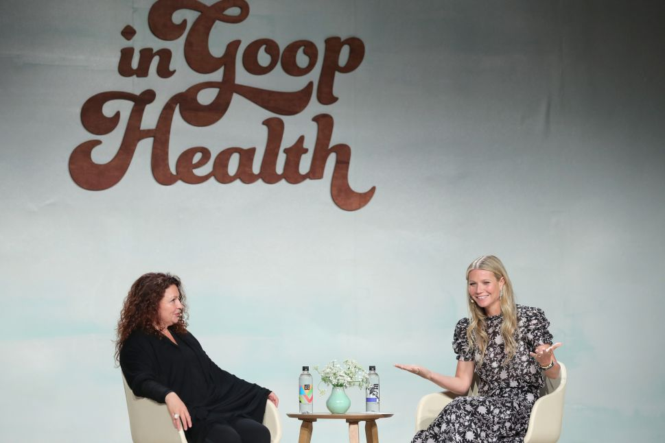 Michaela Boehm and Gwyneth Paltrow in conversation at a Goop forum.