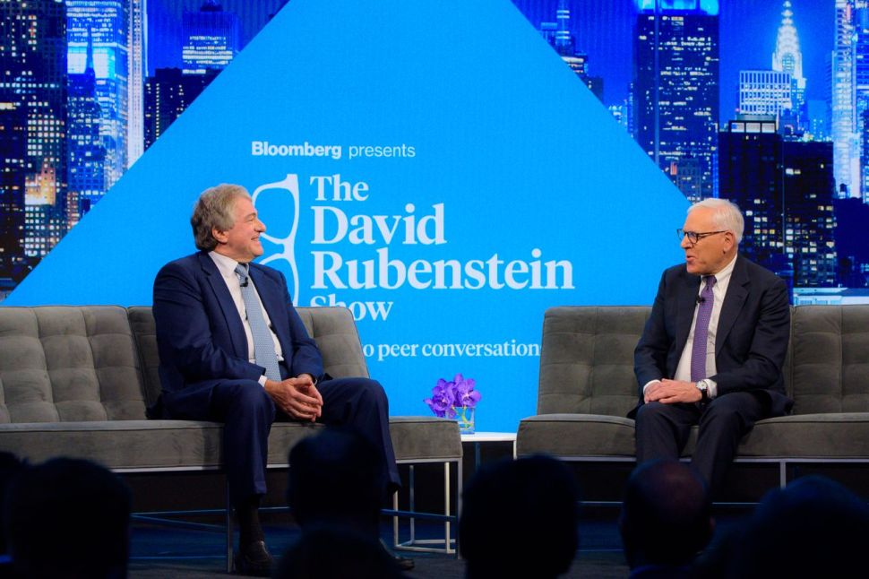 Leon Black (L) on The David Rubenstein Show during the Bloomberg Invest New York conference on June 4, 2019.