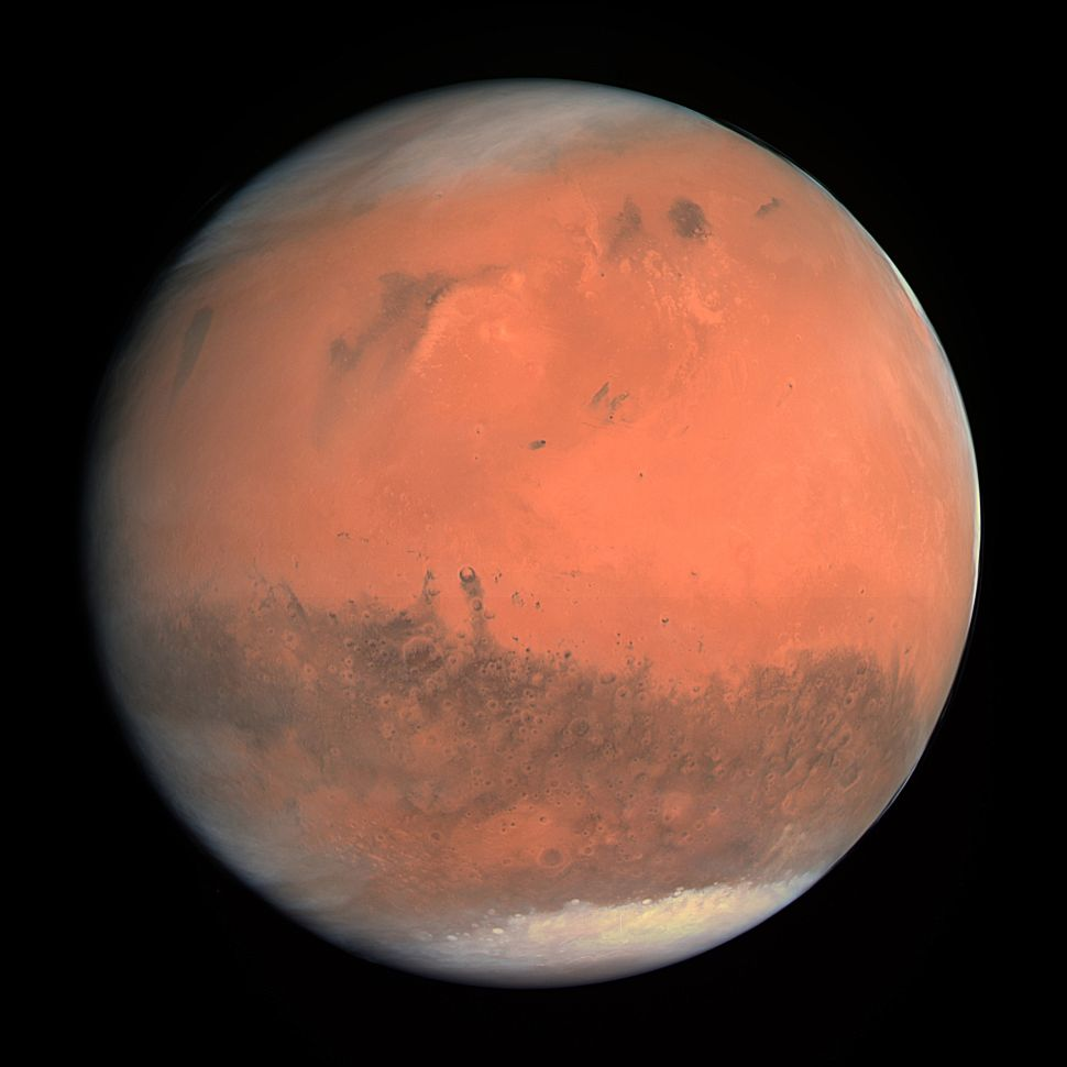 Mars pictured in natural color in 2007.