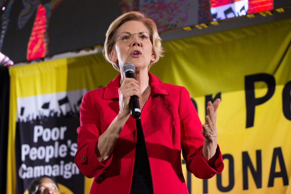 Elizabeth Warren speaks at the Poor People's Moral Action Congress at Trinity University in Washington D.C.