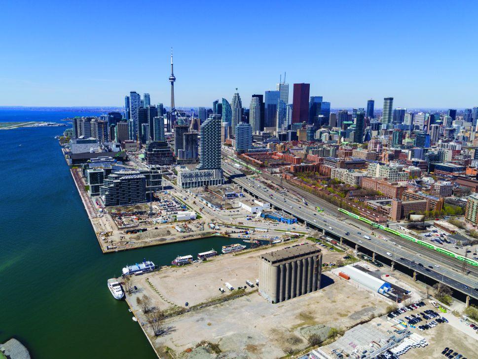 Aerial view of Toronto's Quayside neighborhood.