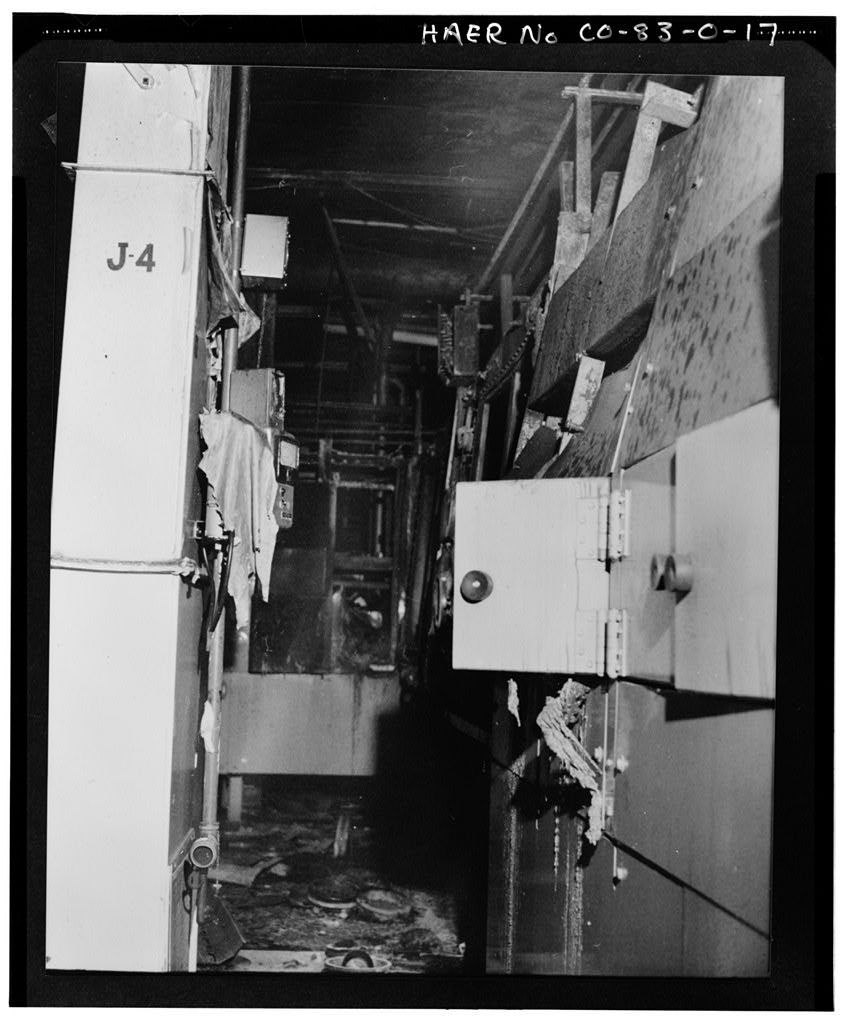 A room damaged in the fire that occurred at the Rocky Flats Plant on May 11, 1969.