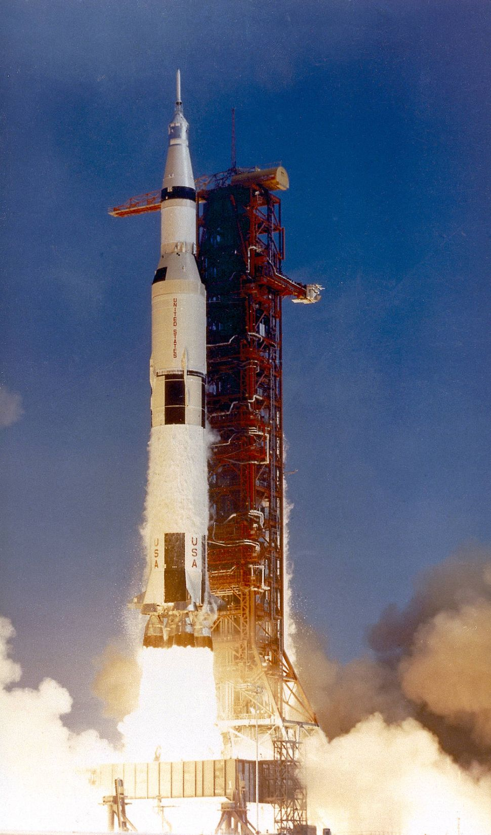 This photograph shows the Saturn V launch vehicle (SA-506) for the Apollo 11 mission liftoff at 8:32 am CDT, July 16, 1969, from launch complex 39A at the Kennedy Space Center.