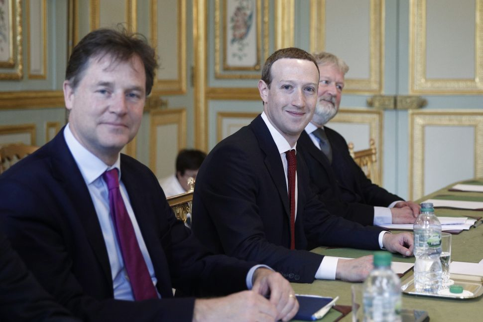 Former UK deputy prime minister Nick Clegg (L) joined Facebook as its communication chief in October 2018.
