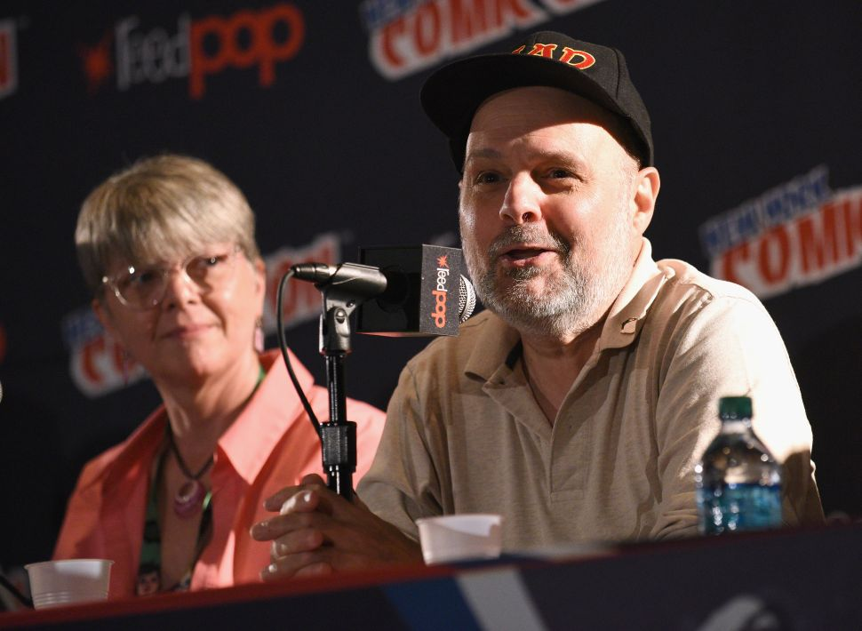 Mad magazine writer and editor Joe Raiola speaks alongside contributor Teresa Burns at New York Comic Con on October 6, 2017.