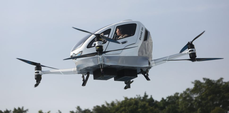 Passenger drone EHang 184, carrying one passenger, flies into the air on February 6, 2018 in Guangzhou, China.