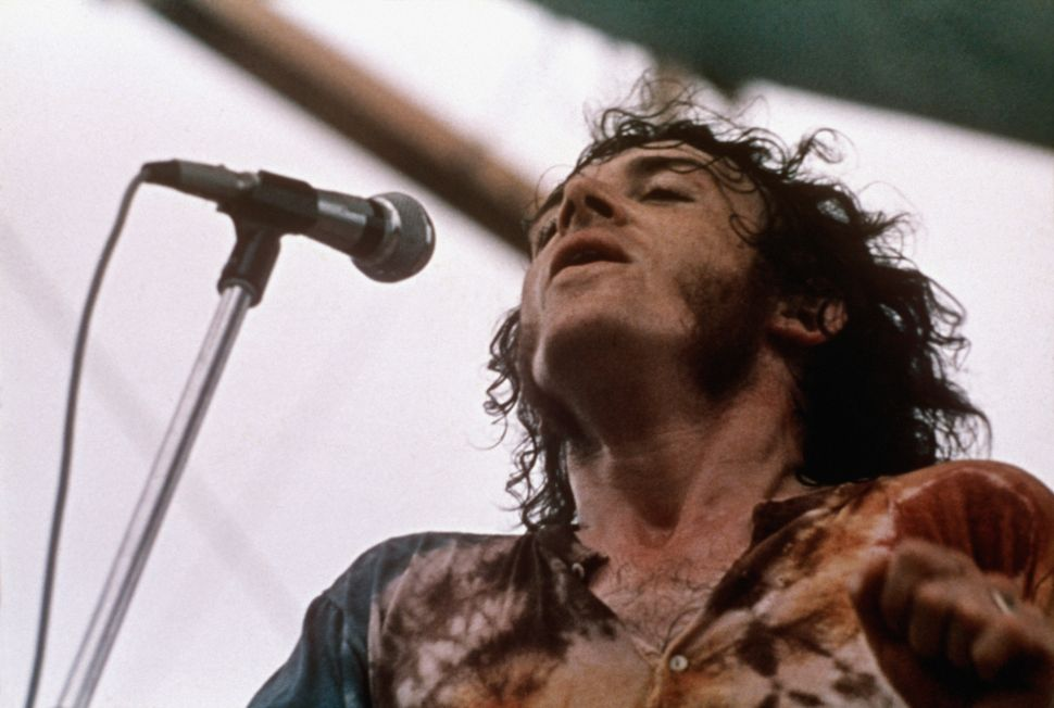 British rock/blues singer Joe Cocker at the Woodstock Music Festival in 1969.