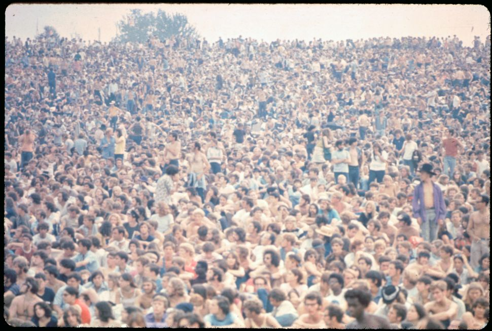 The crowd at the 1969 Woodstock Music Festival.