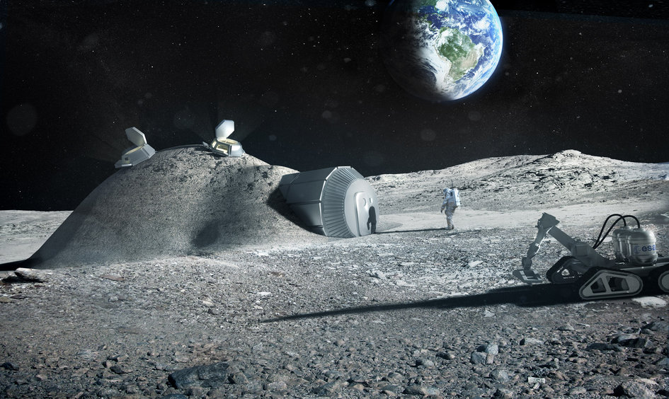 The ESA's conceptual presentation of 3D printing lunar bases.