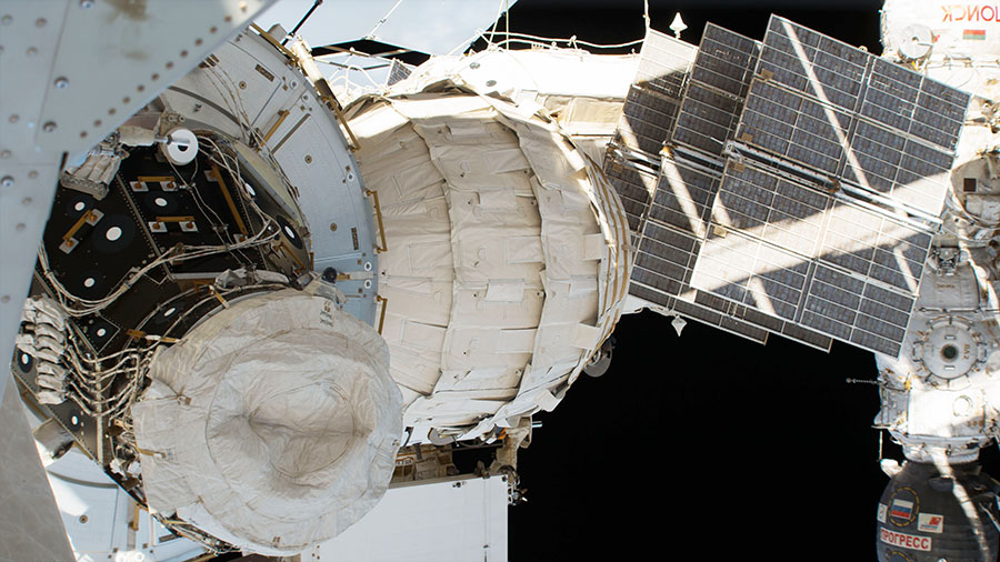 BEAM, the Bigelow Expandable Activity Module, is pictured installed on the Tranquility module of the ISS and expanded to its full-size volume.