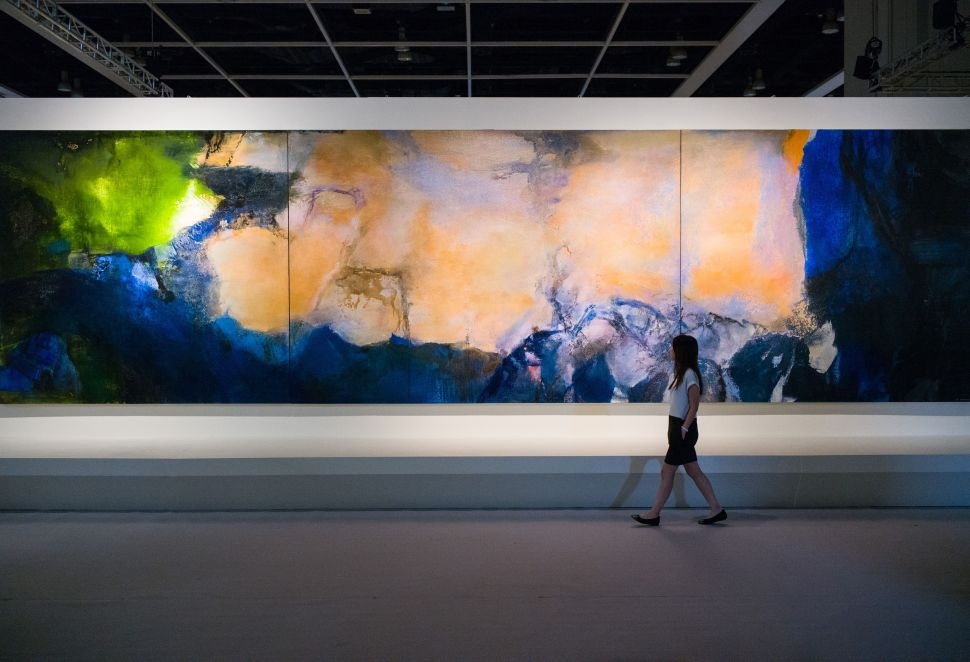 'Juin-Octobre 1985' by Zao Wou-Ki on display at the Sotheby's showroom in Hong Kong.