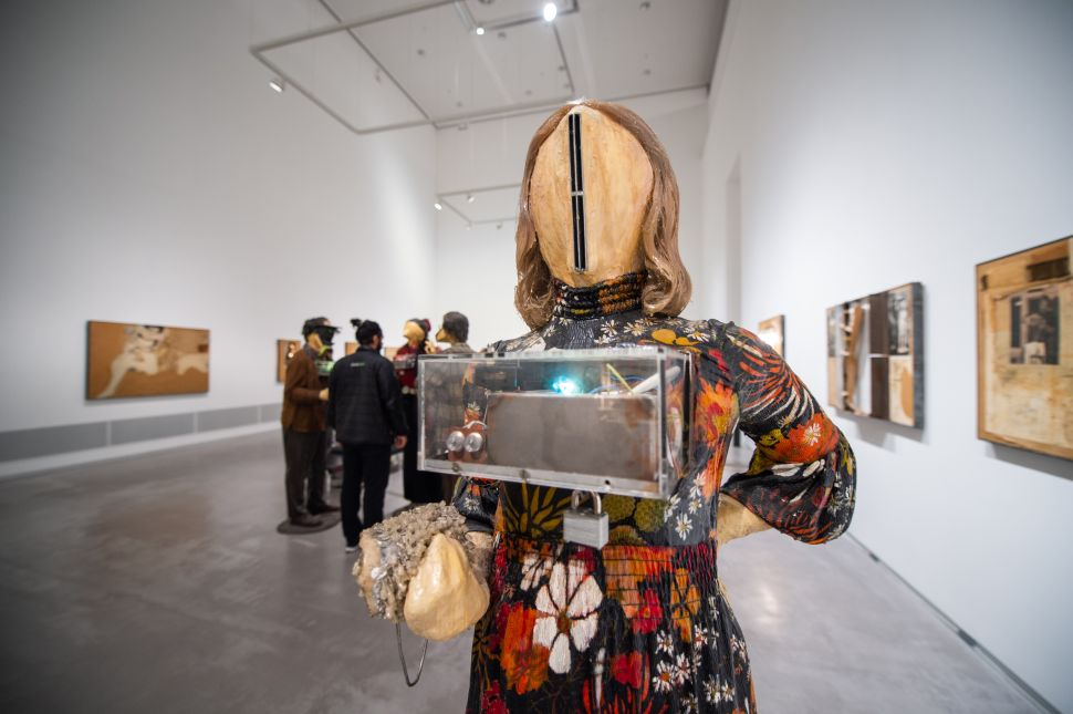 A figure by Kienholz stands in the Berlinische Galerie during Berlin Art Week 2018.