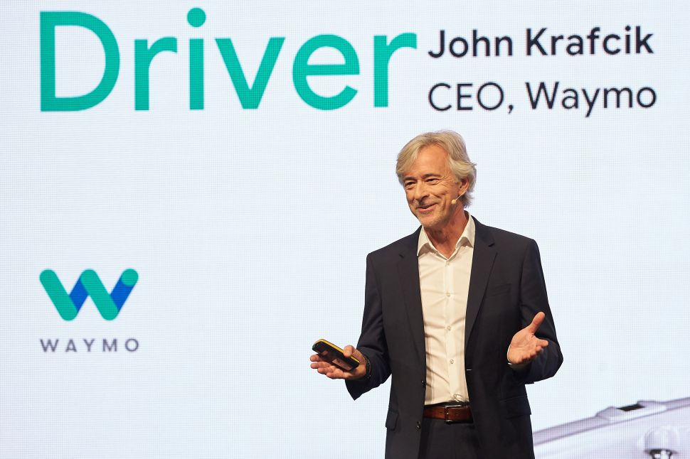 John Krafcik, CEO of Waymo, speaks at the International Frankfurt Motor Show opening ceremony.