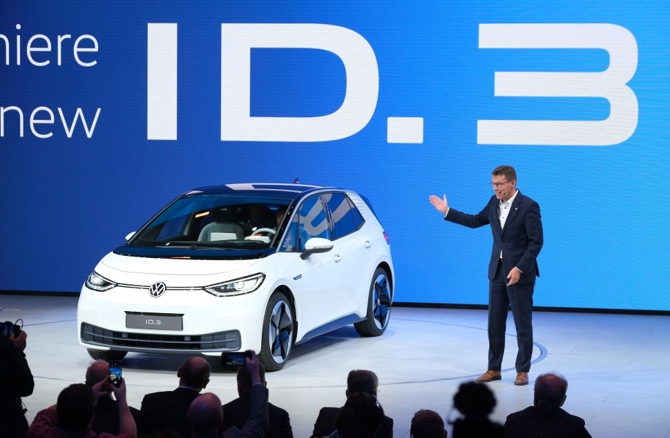 Volkswagen presents the new Volkswagen ID.3 electric car at the 2019 IAA Frankfurt Auto Show on September 10, 2019 in Germany.