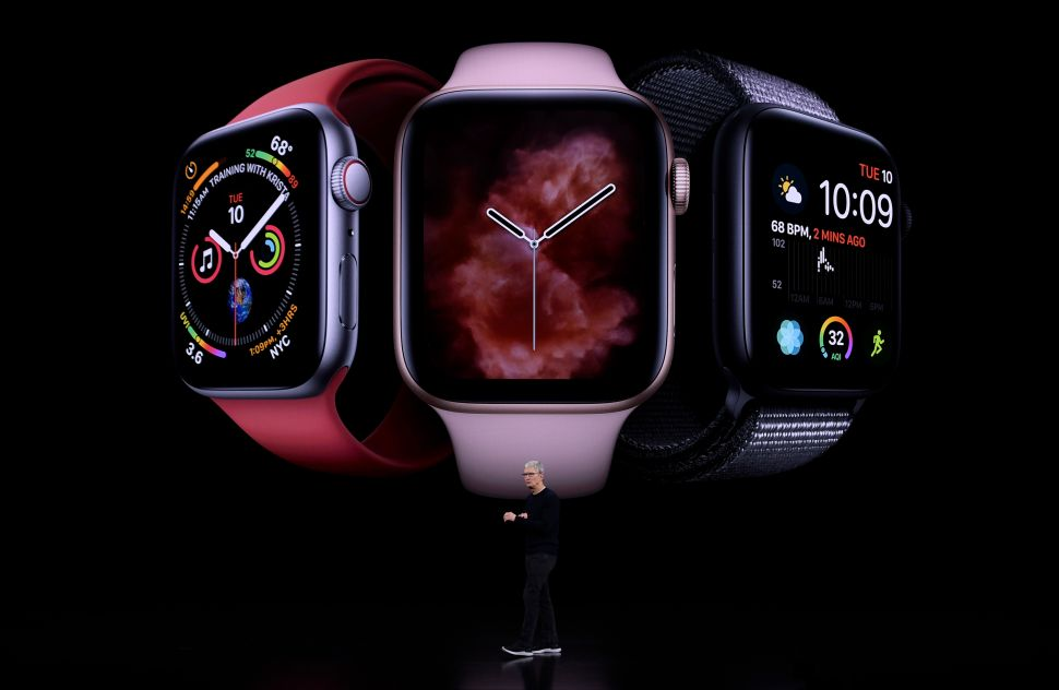 Apple CEO Tim Cook unveiled the latest Apple Watch during the company's launch event on Sept. 10, 2019 in Cupertino, Calif.