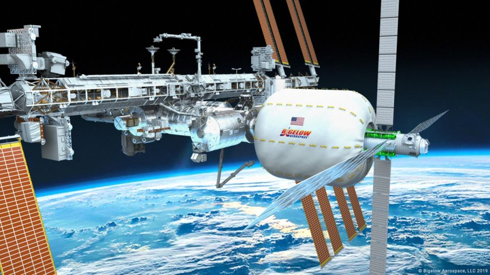 In this rendering, a B330 is seen on the forward node of the International Space Station.