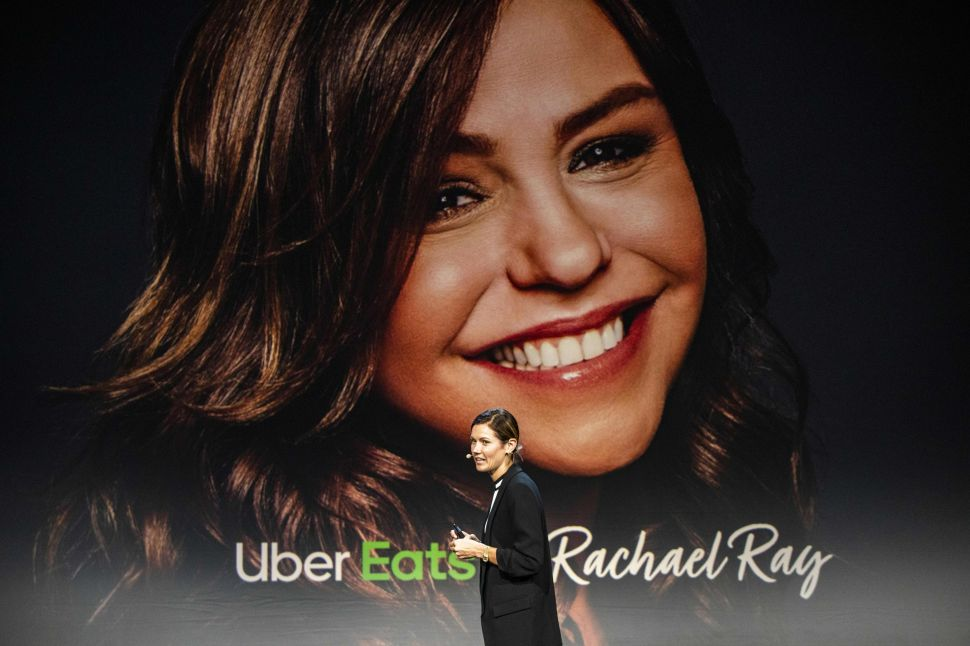 Uber Eats' head of marketing Nikki Neuburger announces a new partnership with celebrity chef Rachael Ray during an Uber products launch event in San Francisco, Calif., on Sept. 26, 2019.