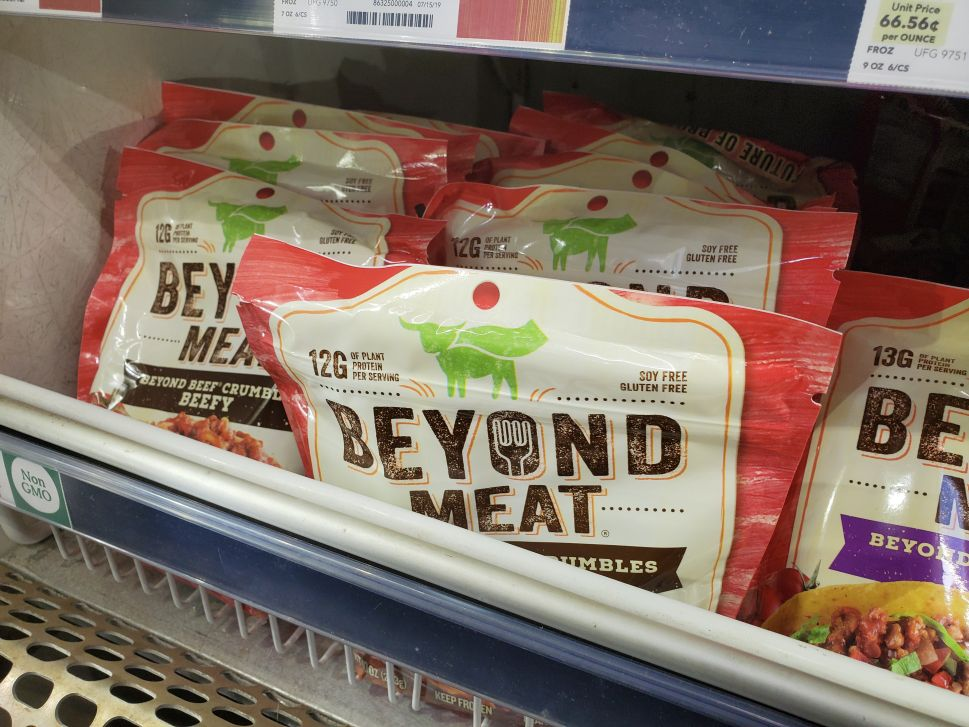Engineered plant-based frozen crumbles from food company Beyond Meat.