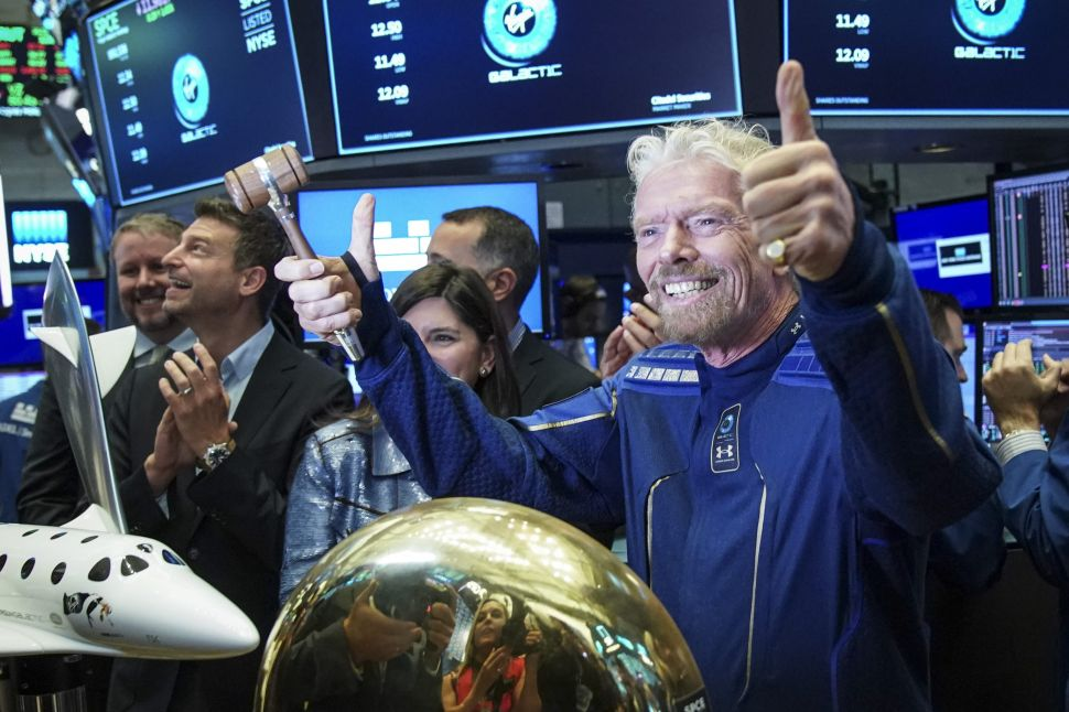 Sir Richard Branson, clad in Virgin Galactic's newly revealed spacesuit, rang the trading bell for Virgin Galactic Holdings on the floor of the New York Stock Exchange (NYSE) on Monday.