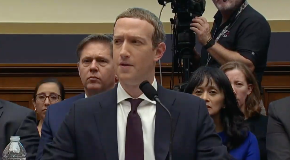 Mark Zuckerberg looks slightly annoyed and confused after Congressman Brad Sherman's attack on Facebook's Libra project.