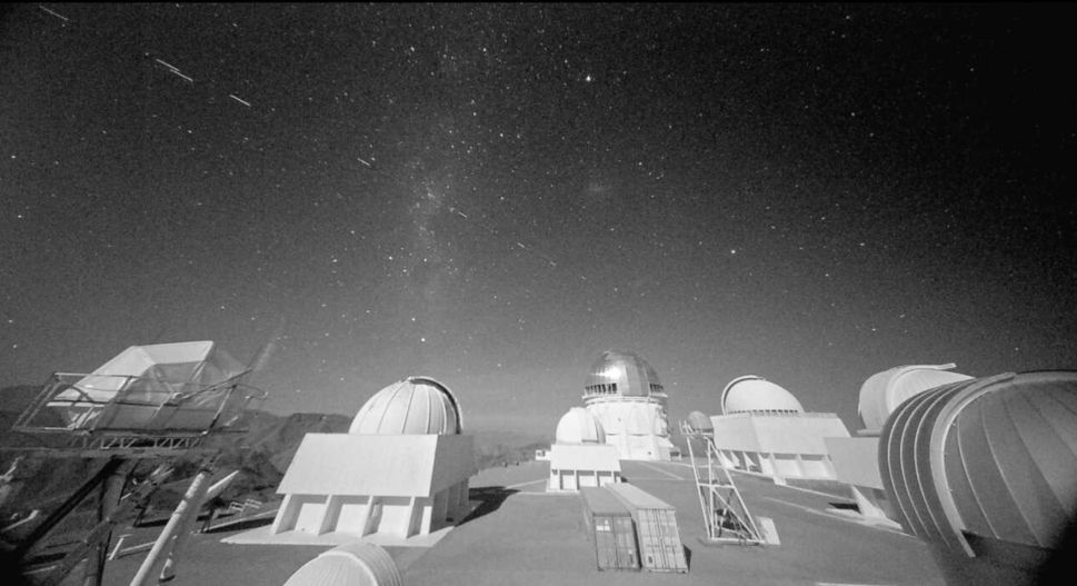 Trails of SpaceX's Starlink satellites seen in the sky above the Cerro Tololo Inter-American Observatory (CTIO) in Chile.